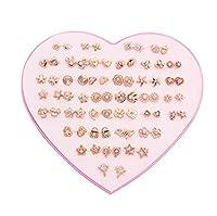 36ペアボックスレジンイヤースタッドクリスタル点滅ダイヤモンド低アレルギー性イヤースタッド、女性用アクセサリー (ゴールデン)