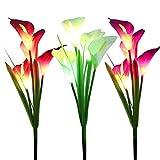 WOSPORTS ソーラーライト 屋外ガーデンステークフラワーライト 合計12個のユリの花 マルチカラーチェンジLEDリリーソーラーパワーライト パティオ 芝生 庭 庭の装飾用