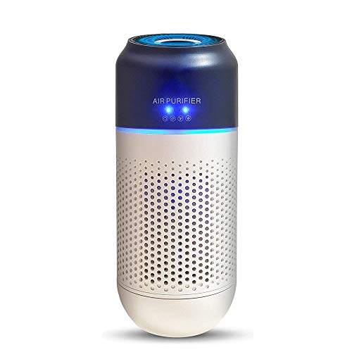 Awolf Car Air Purifier, True HEPA Air Purifier with 4-Stage Filtration Mini Air Cleaner for Car, Office, Home, Eliminates Smoke, Dust, Pollen, Pet Dander, USB Powered (HEPA Air Purifiers)