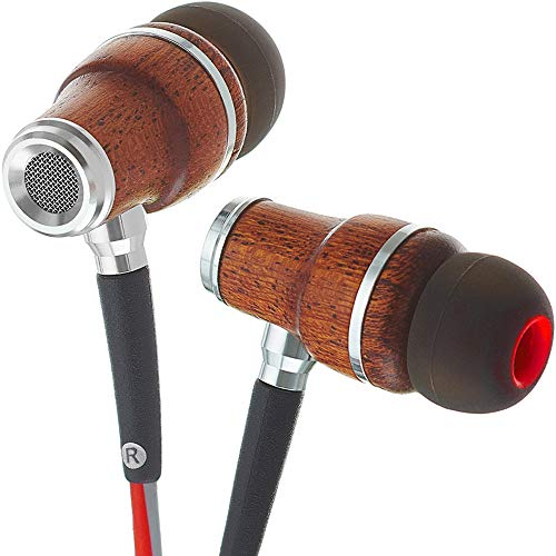 Symphonized NRG 3.0 Premium IN Ear KOPFHÖRER Ohrhörer aus edlem Holz, Mikrofon und Lautstärkeregler - Geräuschisolierende Ohrstöpsel für Zuhause und Unterwegs (Rot & Grau)