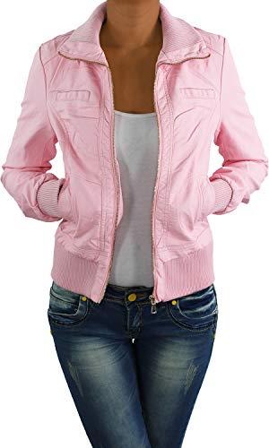 Damen Lederjacke Kunstlederjacke Leder Jacke Damenjacke Jacket Bikerjacke S - 4XL Rosa L