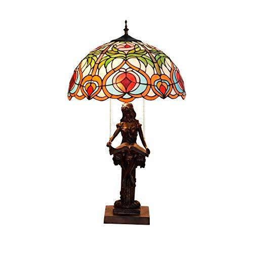 CENPEN Estilo de Tiffany Arte Tabla Cristal Lámparas hechas a mano retro Dormitorio Lámparas de leer for estar Sala de Estudio Sala de iluminación del escritorio Lampwith base de resina, E27,40W cubie