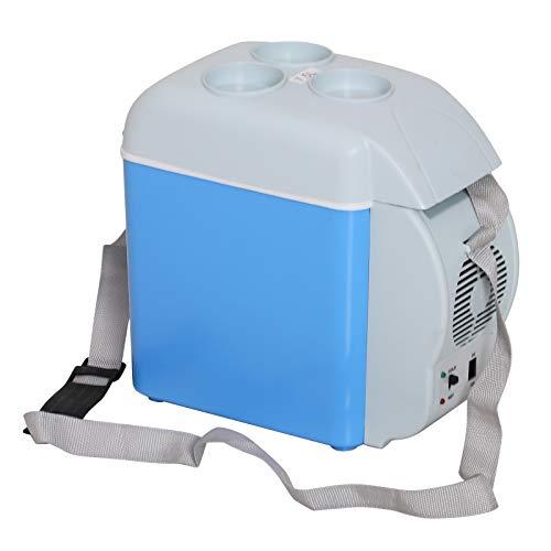 HOMCOM Nevera Termoeléctrica Portátil 7.5L de Coche Mini Nevera Eléctrica con 2 Funciones para Enfriar y Calentar para Camping Pícnic Viajar Oficinas Hogar Azul y Gris