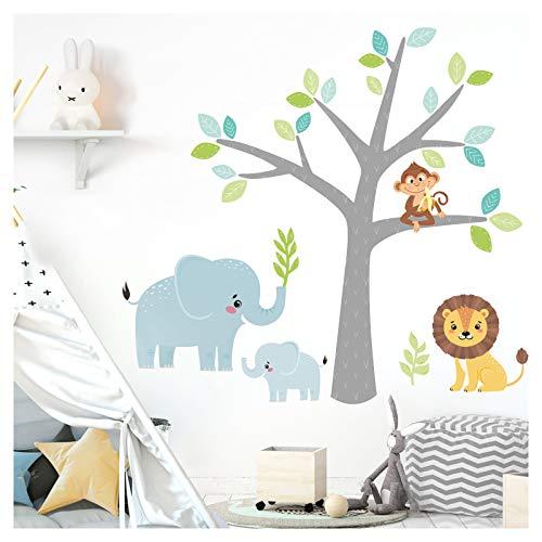 Little Deco Wandaufkleber Safaritiere & Baum I Baumgröße 114 x 130 cm (BxH) I Elefanten AFFE Löwe Wandsticker...