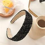 Diadema, elegantes cintas para el pelo de tela a cuadros para mujeres y niñas, a la moda hecha a mano con tweed ancho y antideslizante diademas para el pelo accesorios (color: negro, tamaño: M)