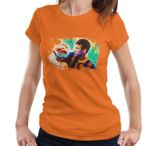 VINTRO Neymar Barcelona - Camiseta para mujer, diseño de Sidney Maurer Naranja...