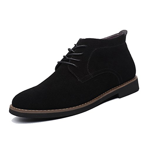 gracosy Suede Casual Shoes Casual Desert Boots Loafers Flat Lace up Mens British Style High Top Classic Oxfords Shoes Mens Suede Ankle Shoes for Men and Women Black 6 UK