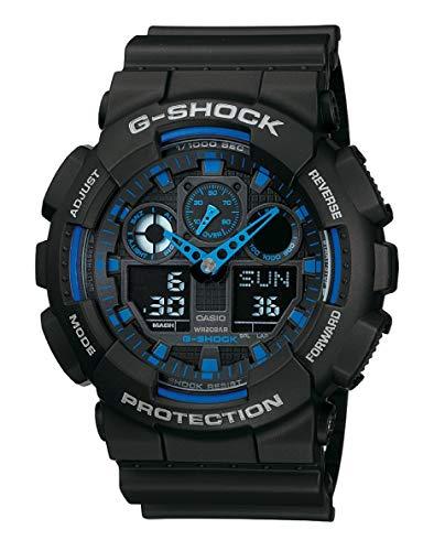 Casio GA-100-1A2ER G-Shock Orologio per Uomo, Analogico - Digitale, Impermeabile fino a 20 bar, Azzurro/Nero