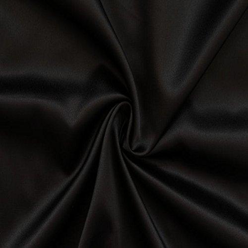 STOFFKONTOR Stretch Satin Modestoff Kleiderstoff - Stoff glänzend - Meterware, Schwarz