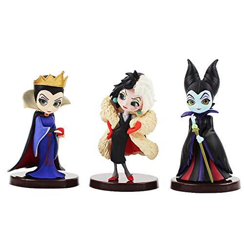 3PCS Q Villanos Set Descendientes 2 Maléfica Cruella de Vil Queen Figura de Acción Modelo Regalo Juguetes para Niños