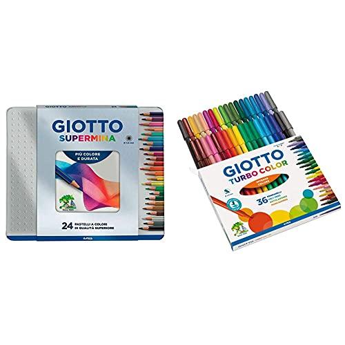 Giotto 236800 Supermina Scatola Metallo 24 Pastelli Colorati, Multicolore & Turbo Color Pennarelli In Astuccio Da 36 Colori