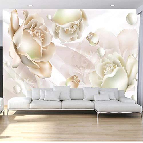 Warmes Gefühl Kundenspezifische große Wandbilder Mode Hauptdekoration romantische weiße Rose Perle Satin Wohnzimmer Hochzeit Zimmer Wand Basketball