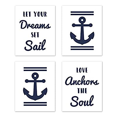 Sweet Jojo Designs Navy Blue and White Wall Art Prints Room Decor for Baby, Nursery, and Kids for Anchors Away Collection - Set of 4 - Let Your Dreams Set Sail