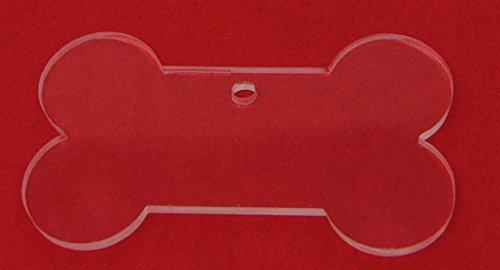 Clear Acrylic Dog Bone with Keychain/Ornament Hole 25 Pack (4')