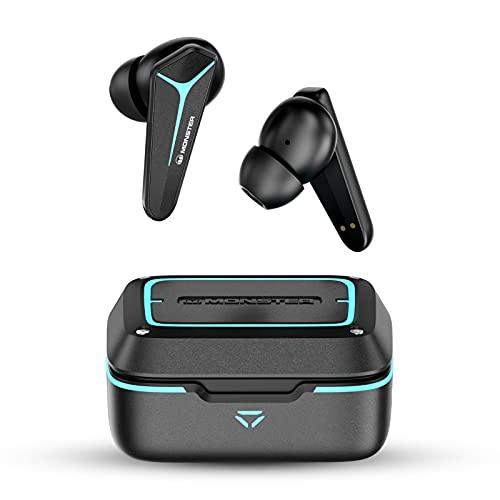 Mission V1 Bluetooth Kopfhörer, Monster Wireless Earbuds, 48ms Latenz Gaming Modus, Tiefer Bass In Ear Kopfhöhrer, 25H Wiedergabe, 4 Mikrofone, Klare Anrufe, Bluetooth 5.0, komfortable Passform