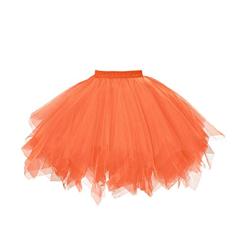 MuseverBrand 50er Vintage Ballet Blase Firt Tulle Petticoat Puffy Tutu Light Orange Large/X-Large