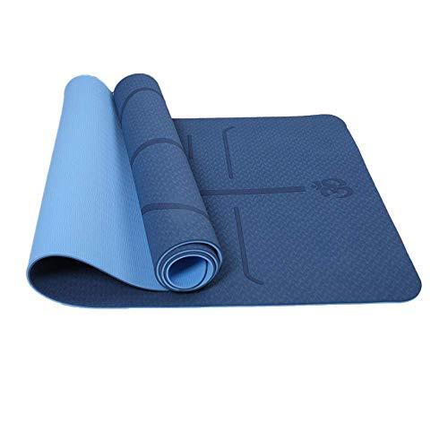 Reyke rutschfeste TPE-Yogamatte, Trainingsmatte Umweltfreundliches zweifarbiges Fitness-Pad mit Tragegurt, robuste Trainingsmatte mit Körperausrichtung für Yoga, Pilates, Gymnastik -183 x 61 x 0,6 cm