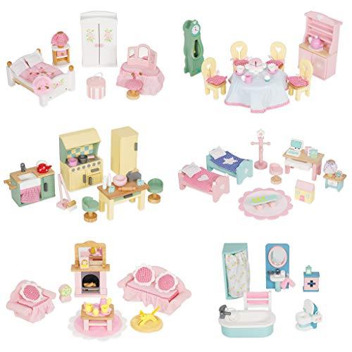 Le Toy Van- Mobili in Legno per casa delle Bambole (Set da 6), Colore Daisylane Completo, ME100