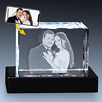 Crystal Impressions 3D Crystal Photo Gift – Custom Photo Engraved Crystal  Custom Photo Engraved Crystal  Personalized Gift for Birthday Anniversary Wedding  LED Base and Gift Box Included