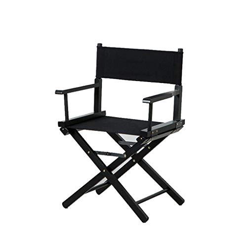 ShJttt-chair or stool Chaise Pliante portative extérieure de Chaise de Directeur de Chaise en Bois de Chaise de Loisirs de Bureau de Barre de Dos (Couleur : Noir)