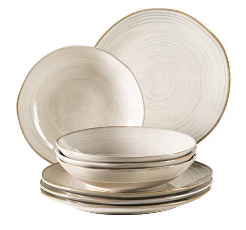 Mäser 931371 Serie Nottingham, Vintage Teller-Set für 4 Personen, 8-teiliges Tafel-Service mit Speiseteller und Suppenteller im Retro-Look, Beige, Steinzeug