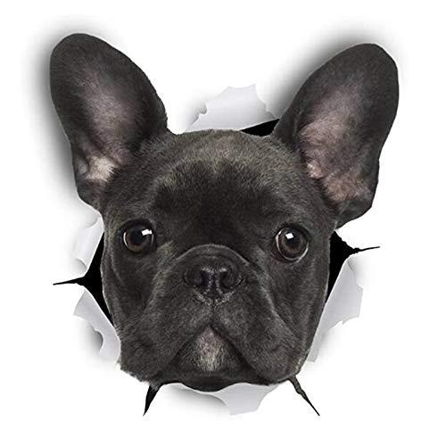Tragbarer Treteimer abnehmbare Deckel Ist Lustige Französisch Bulldog 3D Hund Abdeckungs-Kratzer-Auto-Aufkleber Automobil Motorräder Exterior Zubehör Vinyl-Abziehbilder, 12cm * 9cm Hanging Abfalleimer
