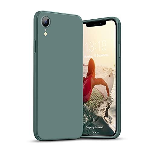 GOODVISH Compatible con iPhone XR Case 6.1' Funda de Silicona Líquida Ultra Delgada Protección de la Pantalla y la Cámara Especial Diseño de Borde Recto Disipación de Calor Rápido (Verde)