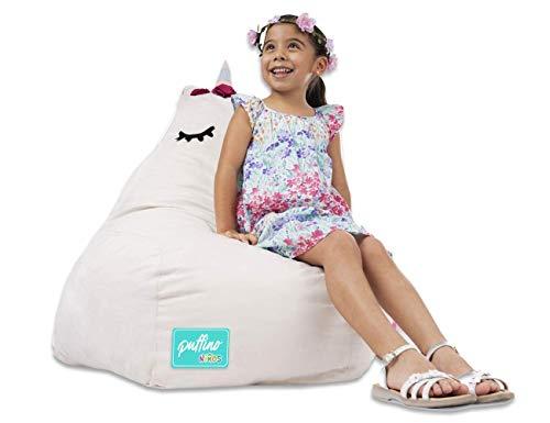 Sillón Puff Unicornio, en forma de pera, ideal para niños, súper cómodo y divertido, con orejas y cuerno flexibles, relleno de...