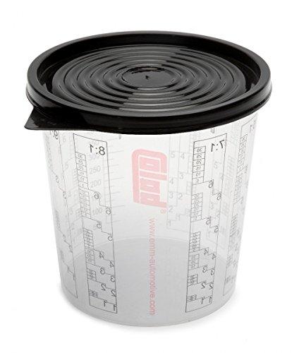 Colad 50 x Mischbecher mit Maßstab 350 ml LACK FÜLLER - Becher mit Deckel