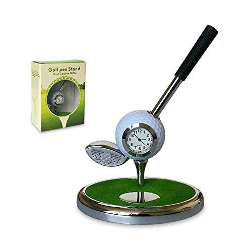 ZILIGOLF Gadget Desktop Golftasche Geschenkset - Mini Desktop Golf Uhr Kugelschreiber Stand mit Golf Stifte 1pcs Satz - Schreibtisch Deko Stiftehalter,White