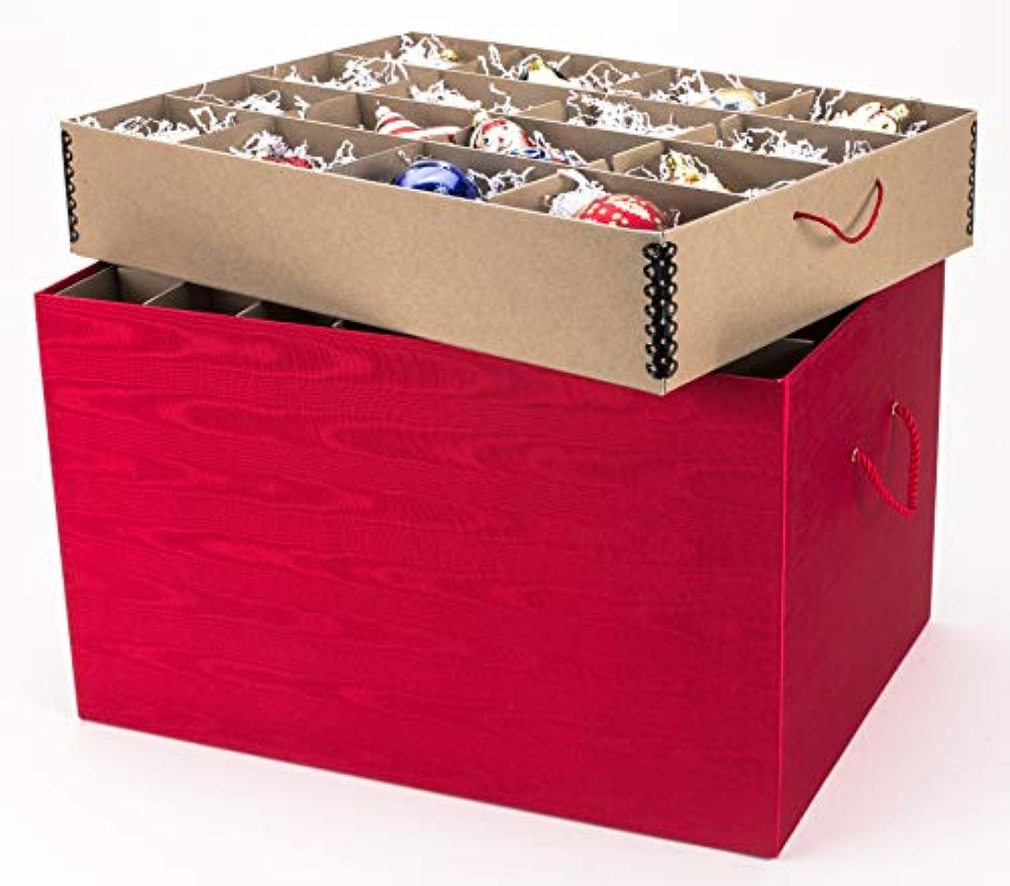 Ultimate Ornament Chest - Red Moire Stripe, Acid-Free Ornament Storage Box