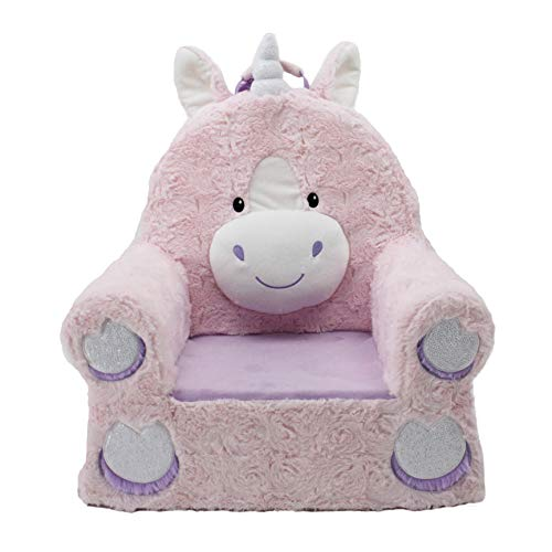 Soft Landing, Sweet Seats, Premium Pink Unicorn, Children's Plush Chair (62005)