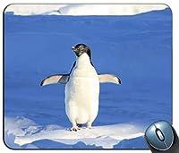 雪のペンギンのクローズアップ写真カスタマイズされたマウスパッド長方形のマウスパッドゲーミングマウスマット