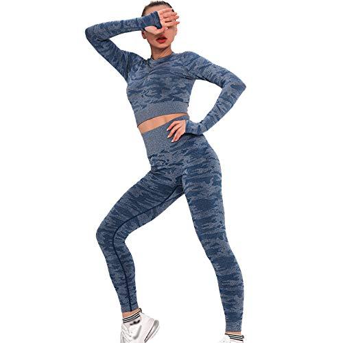 XIAOQSM Pantalones de yoga de camuflaje para mujer de alta elasticidad Slim Fitness Sportswear (se venden por separado) - Azul - L