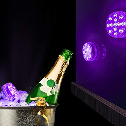 LOFTEK Submersible LED Lights Remote Control (RF), Suction Cups, Magnets, Color Changing Waterproof LED Light Battery Operated Bathtub Lights for Hot Tub, Pool, Pond,Foundation,Party, Even (2 Packs)