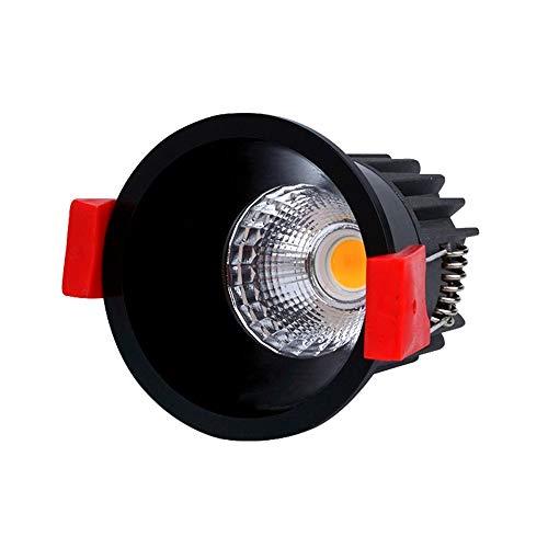 Popertr Negro antideslumbrante LED empotrada en el techo Luz Con 50 mm de borde estrecho del agujero de montaje Distancia LED Downlight empotrado profundo antideslumbrante Spotlight Mini LED empotrado