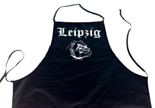 ShirtShop-Saar Leipzig (Bulldogge/Hund); Städte Schürze (Latzschürze - Grillen, Kochen, Berufsbekleidung, Kochschürze), schwarz
