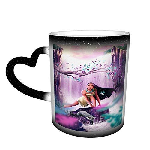 IUBBKI Pocahonta-s Taza de café que cambia de color Taza sensible al calor que cambia en el cielo Taza de té de cerámica que cambia de color, 12 onzas Rojo