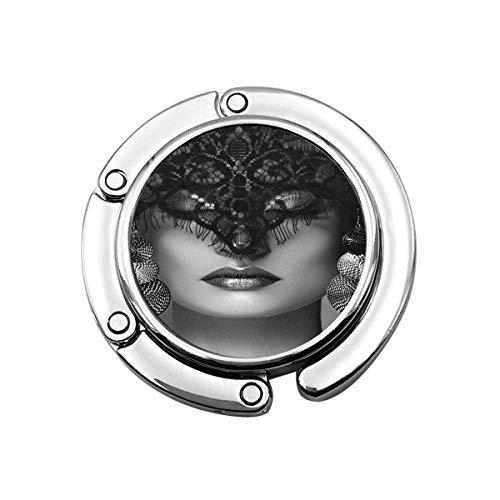 Percha Monedero Gancho Monedero Mujer de Lujo con Maquillaje Celebrar Pendientes de Plata Velo de Encaje Negro dramático Halloween Bruja Sexy Look