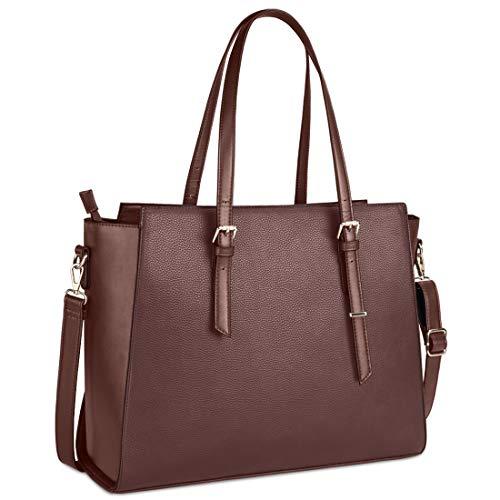Handtasche Damen Shopper Damen Große Dunkelbraun Gross Laptop Tasche 15.6 Zoll Elegant Leder Umhängetasche für Büro Arbeit Schule