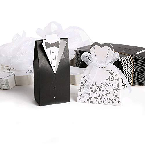 FOGAWA 100 Stück Hochzeit Süßigkeiten Schachtel Bonbons Schachtel Hochzeitskasten für Hochzeit Braut und Bräutigam Geschenkbox für Hochzeit Hochzeitstag Brautkleid Entwurf Gastgeschenke