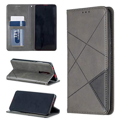 Dmtrab Phone Case for Xiaomi Redmi K20 / K20 Pro/MI 9T Case, Funda Protectora de Cuero magnético de la Textura de Rhombus Funda Protectora de Cuero magnético con Soporte y Ranuras de Tarjetas (Gris)