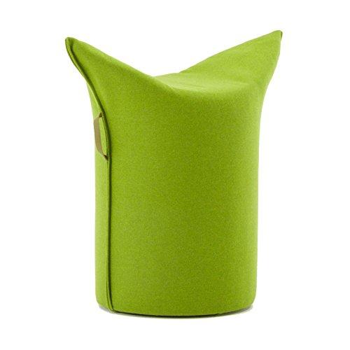 WERTHER Zipfelhocker Polsterhocker Sitzhocker Indoor Grün inkl. Leder-Handgriffschlaufe 3 Jahre Garantie Sitzhöhe 500 mm B 620 x T 360 x H 600 mm
