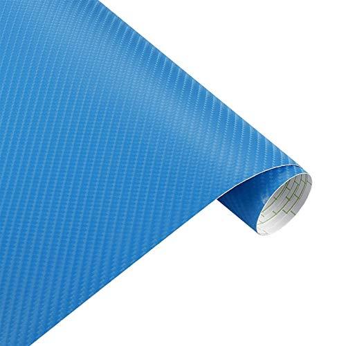 OLDJTK 200 mmx1520mm Impermeable DIY Pegatina Coche Pegatina Coche 4D Espesado 3M Coche Fibra de Carbono Vinilo Envoltura de Vinilo Accesorios para Coche Calcomanías (Color : Light Blue)