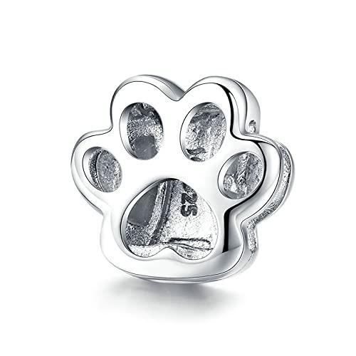 925 Sterling Silver Cat Paw Footprint Beads Charm Fit Original Bracelet Bangles
