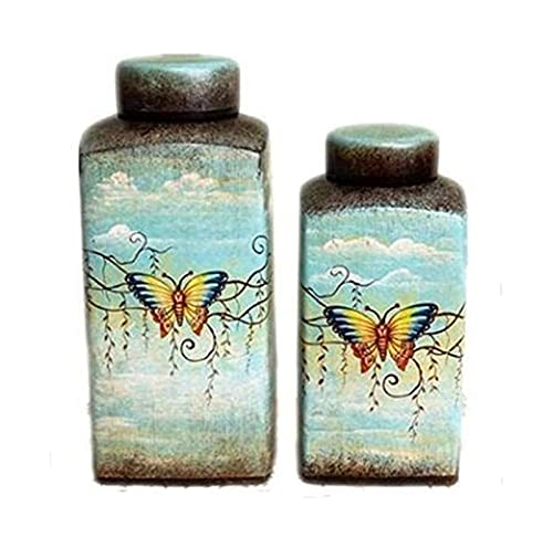 SSHA urna Urnas urna funeraria Mariposa Mueble urnas funerarios para Cenizas cremación Memorial en Relieve cerámica urna sellada Jarra urnas para Cenizas (Color : L)