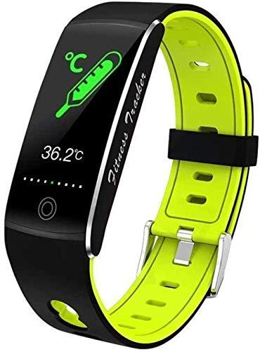 ZHENAO Moda Deportes Cuerpo Temperatura Pulsera Inteligente All-Tiempo Multi-Deportes Pulsera Impermeable Tarifa Sangre Oxygen Smart Monitoring Watch-Black Exquisito/Green