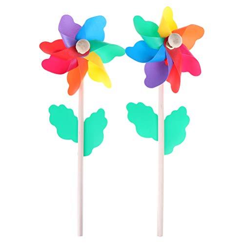 7thLake 2 Stücke Kunststoff Regenbogen Windrad mit Holz Griffe,Kleine Blume Windmühle Party Windräder DIY Rasen Windmühle Set für Kinder Spielzeug Garten Party Rasen Dekor
