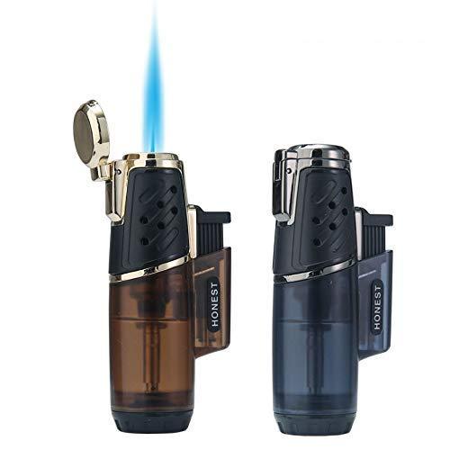 Feuerzeug Winddicht Turbo Strong Flame Gas Butan Nachfüllbares Brennerfeuerzeug mit Butanfenster-Zubehör für Herren 2 Pack (Single + Single Brown + Charcoal)