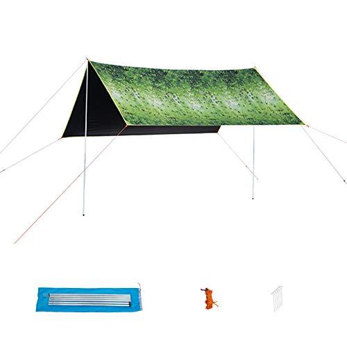 HSART Family Tent, 6-8 People Hammock Tarp, Multi-Functional Camping Canopy Single-Layer Tent, Rain Fly Tarp, Sun Shelter Canopy Tent Tarp,C